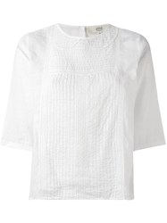 Vanessa Bruno Athe Three Quarters Sleeve Lace Blouse White