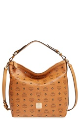 Mcm 'Small Visetos' Coated Canvas Hobo Cognac