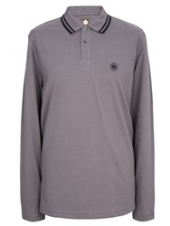 Pretty Green Long Sleeve Tipped Pique Top Light Grey