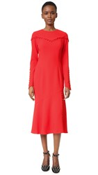 Prabal Gurung Long Sleeve Crew Neck Dress Cherry