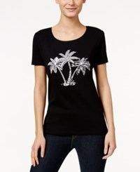 Karen Scott Petite Embellished Palm Tree T Shirt Only At Macy's