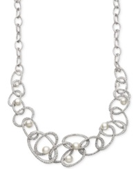 Belle De Mer Bridal Cultured Freshwater Pearl 5 10Mm And Crystal Linked Frontal Necklace In Silver Plated Brass