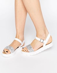 Park Lane Jewel Strap Flat Sandals Wh1 White 1