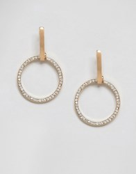 Ny Lon Nylon Diamante Detail Hoop Earrings Crystal Silver