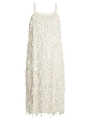 Ashish Sequin Embellished Sleeveless Silk Dress Ivory