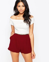 Love Cold Shoulder Playsuit In Colourblock Oxbllod Ivory Red
