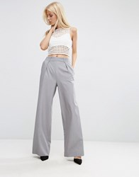 Asos Wide Leg Trousers With Pleat Detail Grey