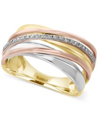 Effy Diamond Tri Tone Ring 1 10 Ct. T.W. In 14K Yellow White And Rose Gold Tri Tone