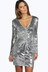 Boohoo Mina Sequin Plunge Neck Bodycon Dress Silver