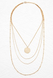 Forever 21 Disc Charm Layered Necklace Gold