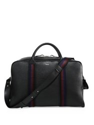 Paul Smith Webbed Strap Leather Duffel Bag Black