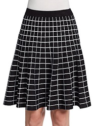 Saks Fifth Avenue Black Windowpane Knit Flare Skirt Black