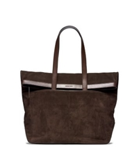 Michael Kors Conor Fold Over Suede Tote Brown