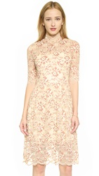 Ganni Adelaide Turtleneck Lace Dress White Smoke Copper Brown