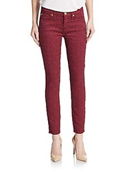 7 For All Mankind Gwenevere Embroidered Skinny Ankle Jeans Burgundy