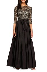 Alex Evenings Women's Sequin Mesh And Taffeta Fit And Flare Gown