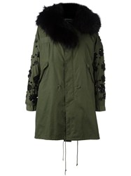 Night Market Embellished Hooded Coat Green