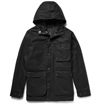 Freemans Sporting Club Isle Of Man Waxed Cotton Canvas Hooded Parka Black