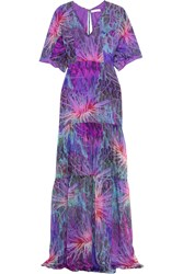 Matthew Williamson Printed Silk Chiffon Maxi Dress Purple