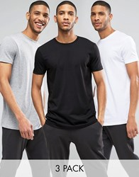 Asos 3 Pack Longline T Shirt With Crew Neck Save 15 In White Black Grey Marl White Black Gry Marl Multi