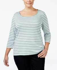 Charter Club Plus Size Striped Top Only At Macy's Dusted Aqua Combo