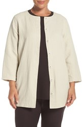 Eileen Fisher Plus Size Women's 'Stucco' Linen And Cotton Double Weave Round Neck Jacket Bone