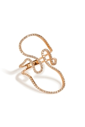 Diane Kordas 18K Rose Gold Open Swirl Ring With White Diamonds