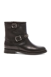 Saint Laurent Leather Studded Motorcycle Boots In Black