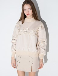 Ivory Floral Cut Out Sweater