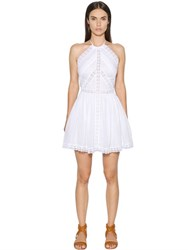 Charo Ruiz Cotton Voile And Lace Halter Neck Dress