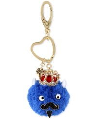 Betsey Johnson Gold Tone Blue King Furry Keychain