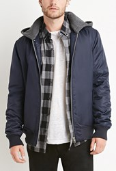Forever 21 Padded Nylon Hooded Jacket Navy Heather Grey