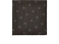 Luciano Barbera Men's Floral Woven Wool Silk Pocket Square Grey