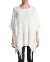 Neiman Marcus Cable Knit Fringed Poncho Ivory