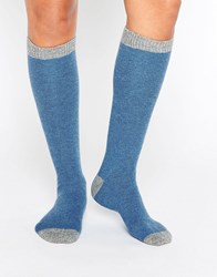 Johnstons Cashmere Long Socks Light Grey Delph Blu Blue