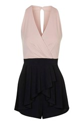 Halter Style V Neck Playsuit By Wal G Blush