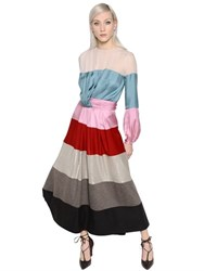 Blumarine Stripe Satin Chiffon Jersey And Lame Dress