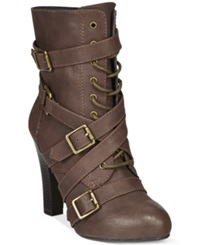 Dolce By Mojo Moxy Diddley Mid Heel Strappy Booties Women's Shoes Espresso