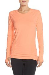Women's Zella 'Defined' Seamless Long Sleeve Tee Orange Flash Heather