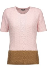 Raoul Two Tone Cable Knit Sweater Baby Pink