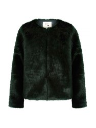 Yumi Fluffy Faux Fur Jacket Green