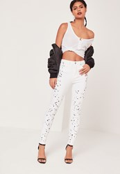Missguided High Waisted Paint Splatter Knee Skinny Jeans White White