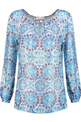 Tory Burch Lisa Printed Silk Blend Chiffon Top Blue