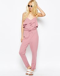 Asos Jersey Jumpsuit With Peg Leg And Ruffle Detail Pink
