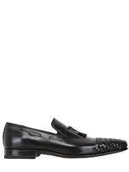 Harris Woven Toe Hand Painted Leather Loafers Black