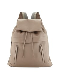 Calfskin Backpack W Monili Straps Light Grey Brunello Cucinelli