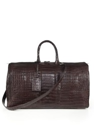 Santiago Gonzalez Crocodile Weekender Bag Dark Brown Black
