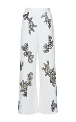 Roland Mouret Glover Floral Palm Lace Trousers White Black