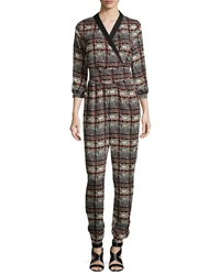 Romeo And Juliet Couture Plaid Houndstooth Jumpsuit Red