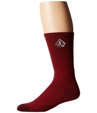 Volcom Full Stone Heather Socks Brick Men's Crew Cut Socks Shoes Red